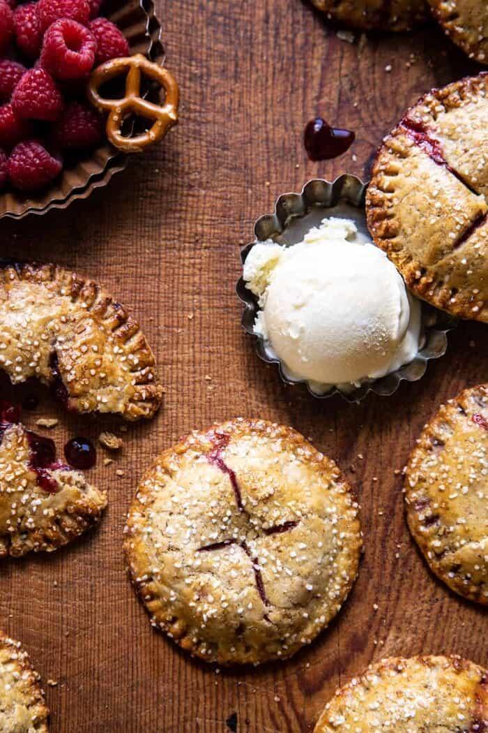 overhead photo of Jammy Raspberry Cream Pretzel Hand Pies