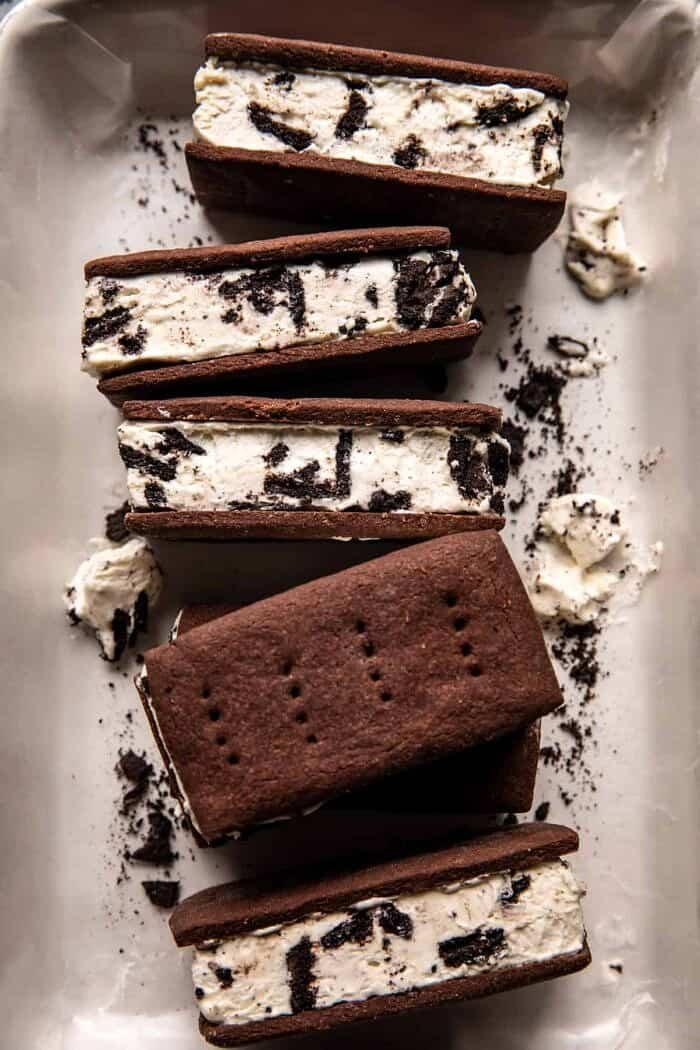overhead close up photo of Malted Milk Cookies n' Cream Ice Cream Sandwiches