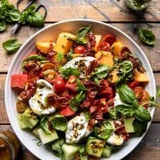 Melon Basil Burrata Salad with Crispy Prosciutto.