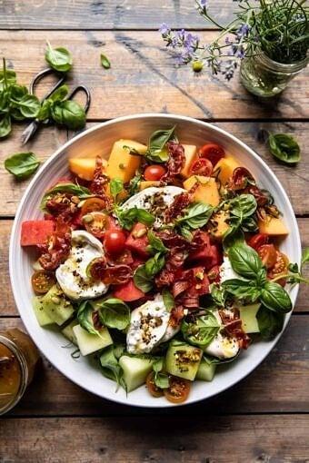 Melon Basil Burrata Salad with Crispy Prosciutto | halfbakedharvest.com