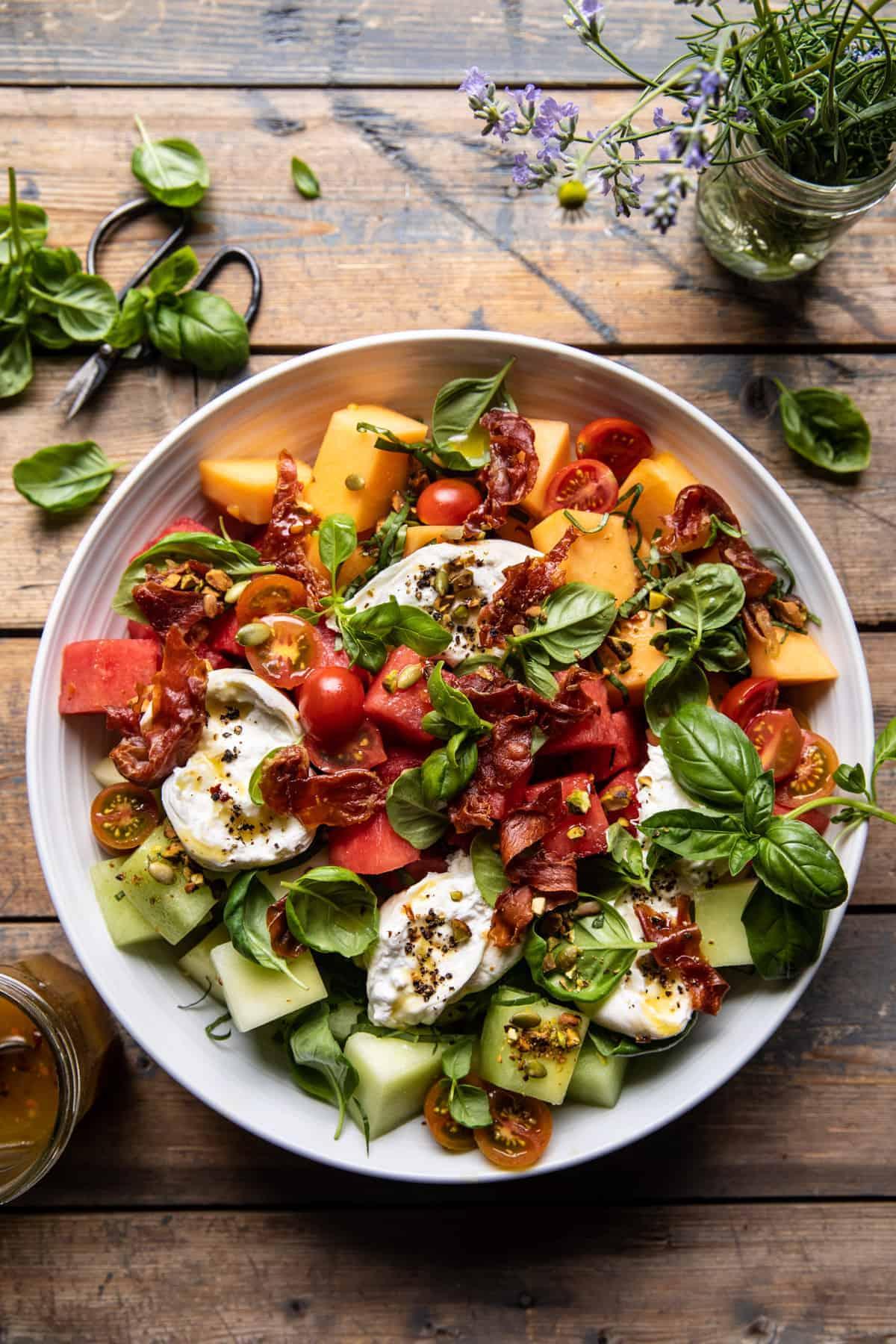 Melon Basil Burrata Salad with Crispy Prosciutto. - Half ...