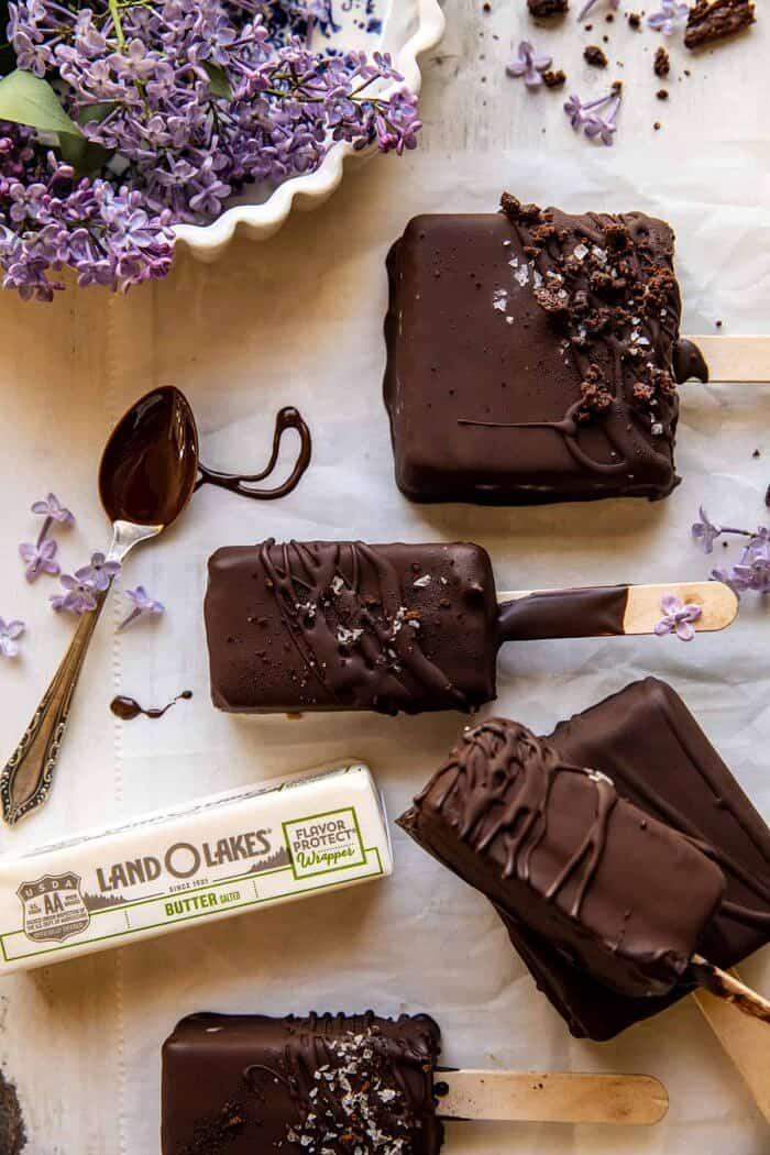 overhead photo of Peanut Butter Brownie Ice Cream Bars