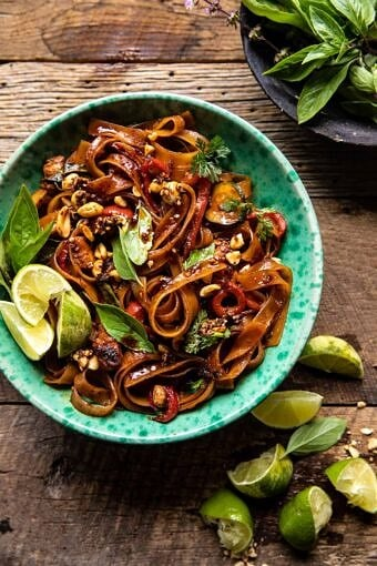 Saucy Thai Summer Noodle Stir Fry with Sesame Peanuts | halfbakedharvest.com