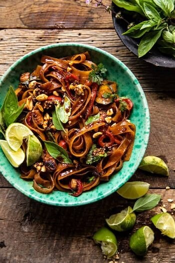 Saucy Thai Summer Noodle Stir Fry with Sesame Peanuts.