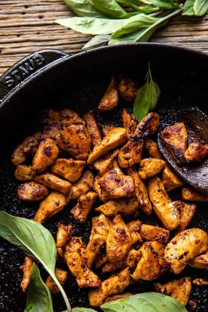 caramelized chicken in skillet