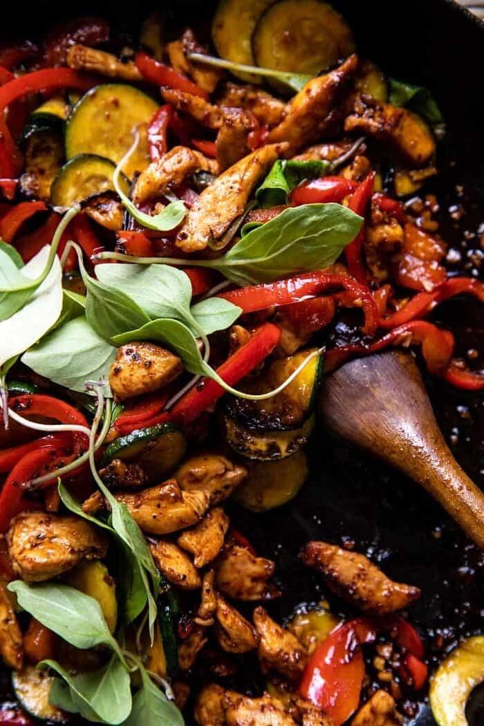 Saucy Thai Summer Noodle Stir Fry in skillet