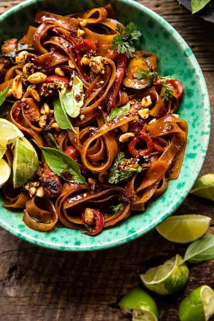overhead close up photo of Saucy Thai Summer Noodle Stir Fry with Sesame Peanuts