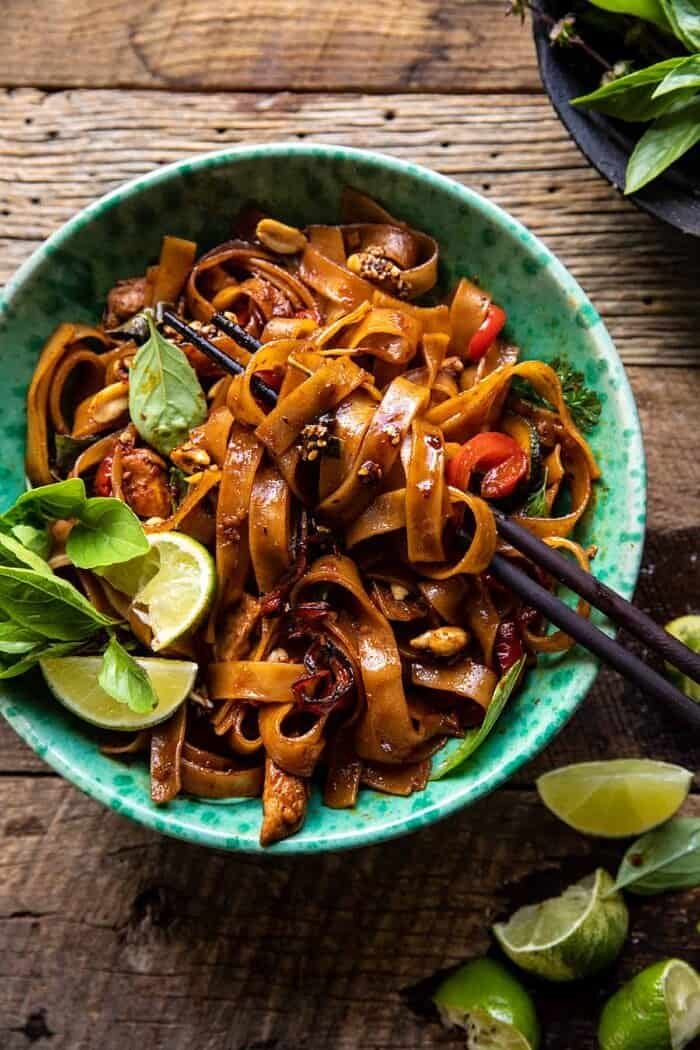 overhead photo of Saucy Thai Summer Noodle Stir Fry with Sesame Peanuts