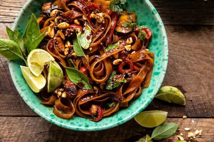 overhead horizontal photo of Saucy Thai Summer Noodle Stir Fry with Sesame Peanuts
