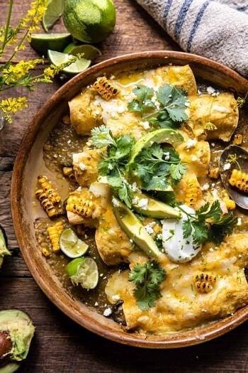 Sheet Pan Chipotle Cheddar Corn Chicken Enchiladas.