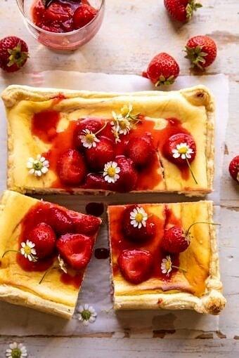 Simple Strawberry Chamomile Cheesecake | halfbakedharvest.com