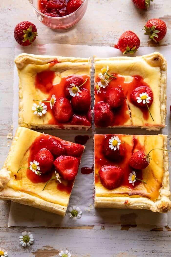 overhead photo of Simple Strawberry Chamomile Cheesecake