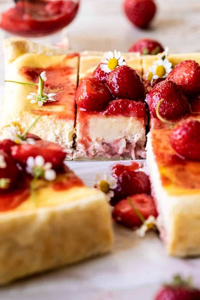 front on photo of Simple Strawberry Chamomile Cheesecake slice