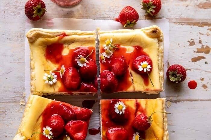 overhead close up horizontal photo of Simple Strawberry Chamomile Cheesecake