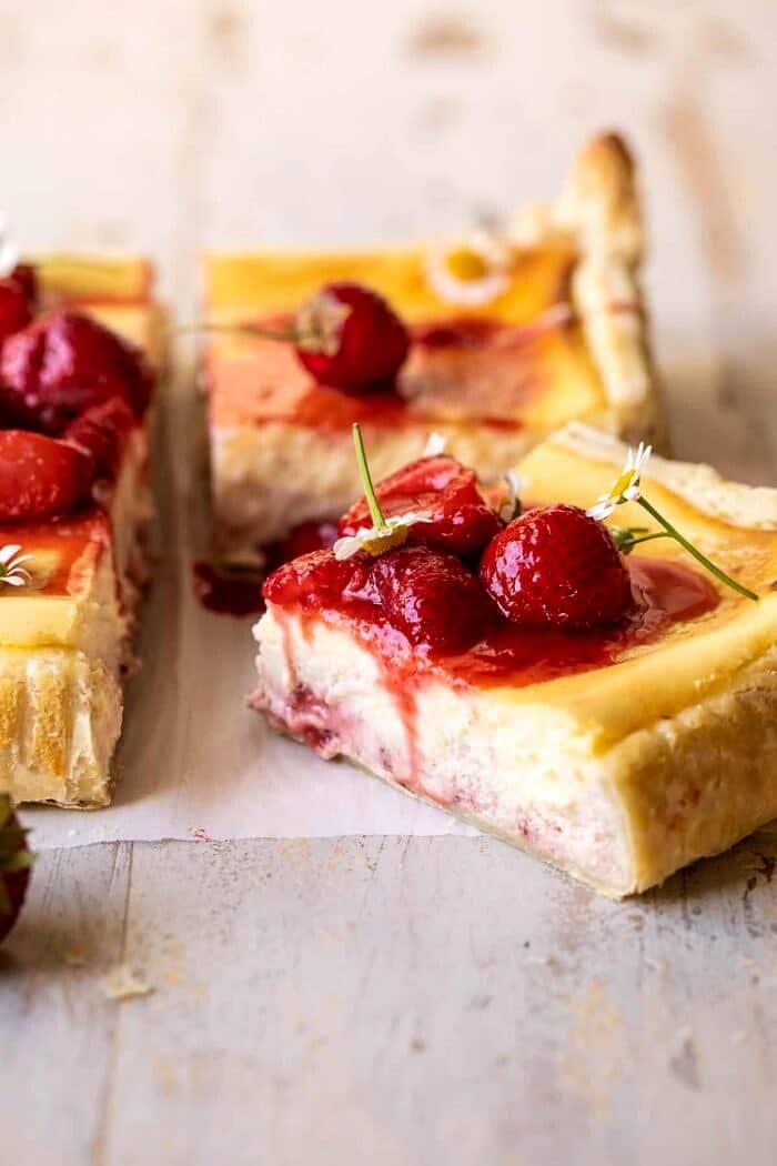 side angle photo of Simple Strawberry Chamomile Cheesecake slice