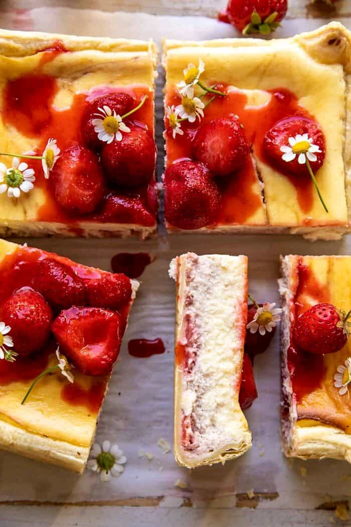 overhead photo of Simple Strawberry Chamomile Cheesecake slice