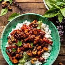 Thai Basil Sesame Cashew Chicken with Coconut Rice.