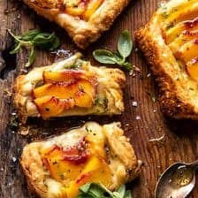 Peach Brie Pastry Tarts with Peppered Rosemary Honey.