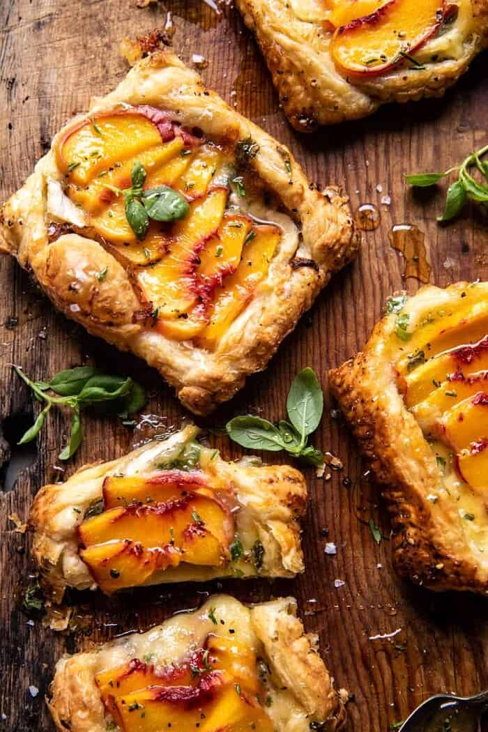 overhead photo of Peach Brie Pastry Tarts with Peppered Rosemary Honey
