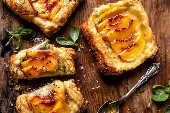 Peach Brie Pastry Tarts with Peppered Rosemary Honey | halfbakedharvest.com