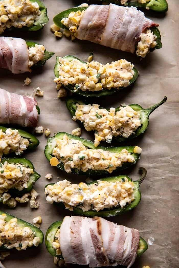 Bacon Wrapped Cheddar Corn Jalapeño Poppers before baking