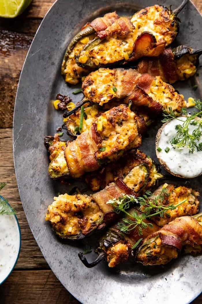 overhead close up photo of Bacon Wrapped Cheddar Corn Jalapeño Poppers