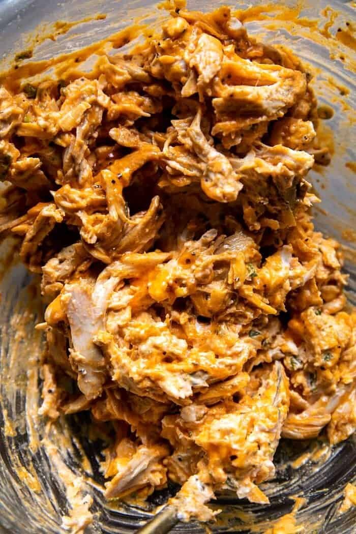 process photo of Buffalo Chicken in mixing bowl
