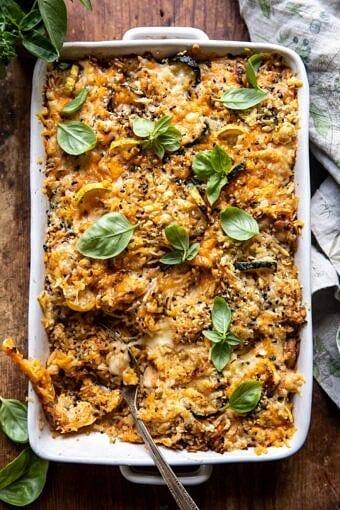 Cheesy Zucchini Chicken and Rice Bake | halfbakedharvest.com
