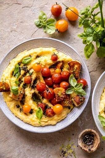 Cherry Tomato Pesto Polenta with Fried Halloumi | halfbakedharvest.com