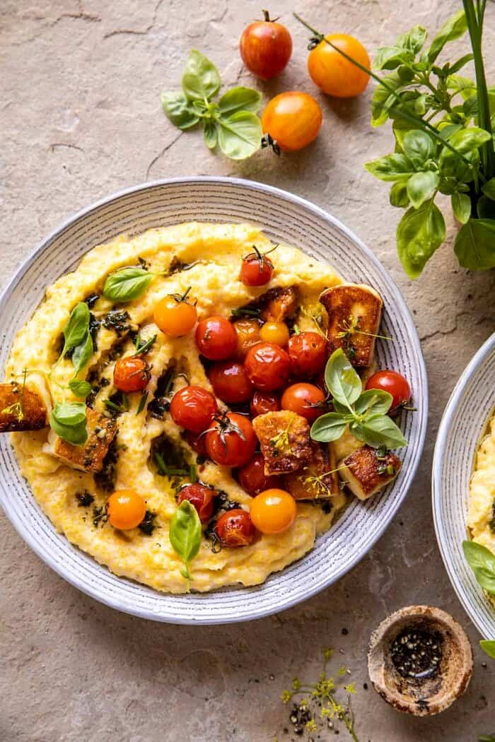 Cherry Tomato Pesto Polenta with Fried Halloumi.