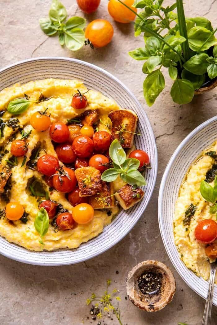 Cherry Tomato Pesto Polenta with Fried Halloumi | halfbakedharvest.com