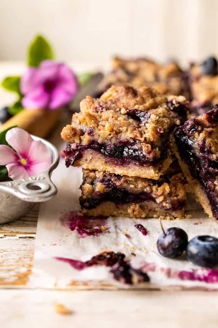front on photo of Cinnamon Sugar Blueberry Crumb Bars