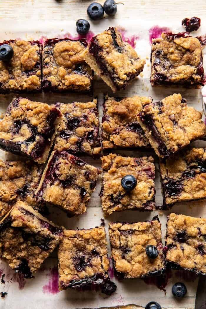 Cinnamon Sugar Blueberry Crumb Bars | halfbakedbarvest.com