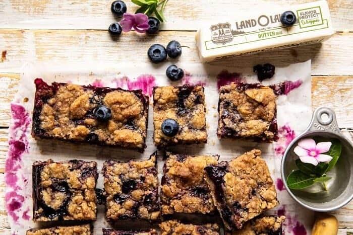 overhead horizontal photo of Cinnamon Sugar Blueberry Crumb Bars