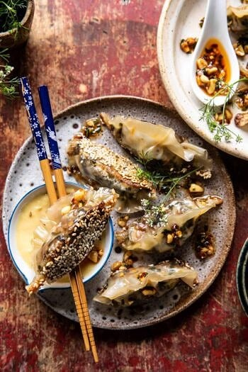 Crispy Sesame Ginger Potstickers with Chive Chili Sauce.