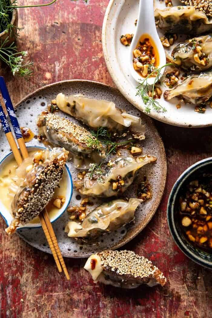 overhead photo of Crispy Sesame Ginger Potstickers with Chive Chili Sauce