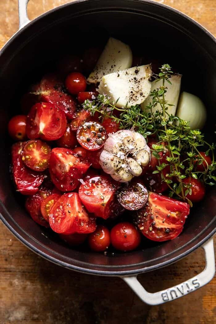 tomatoes in pot before cooking