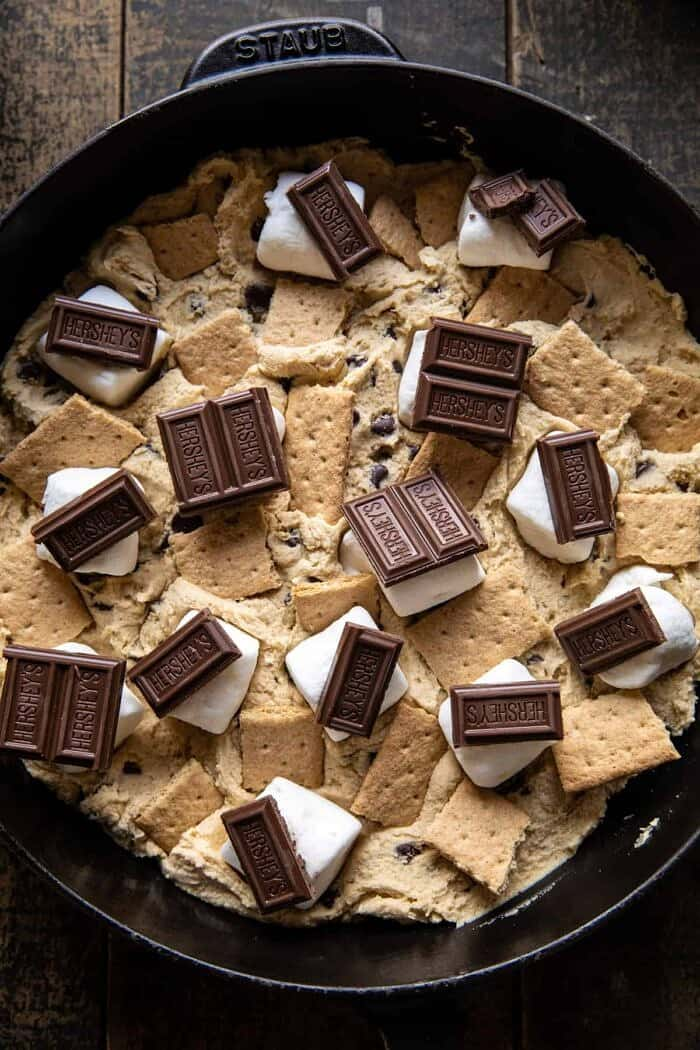 Giant S'mores Stuffed Chocolate Chip Skillet Cookie before baking