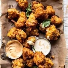 Jalapeño Cheddar Corn Fritters with Chipotle Aioli.