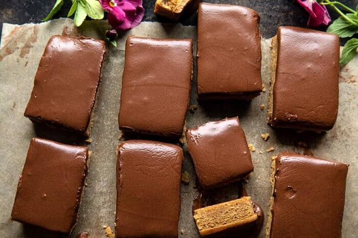 overhead horizontal photo of Lunchroom Chocolate Peanut Butter Bars