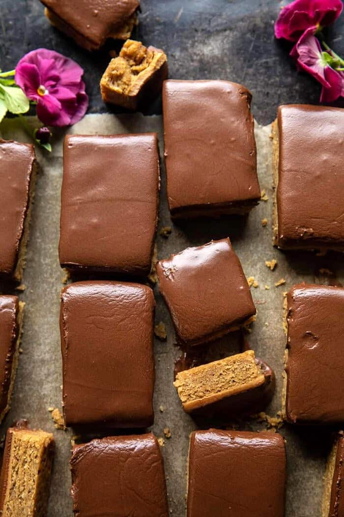 overhead photo of Lunchroom Chocolate Peanut Butter Bars