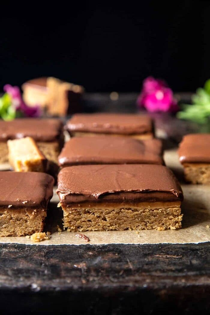 side angled photo of Lunchroom Chocolate Peanut Butter Bars