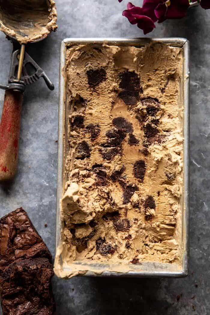 overhead photo of No Churn Fudge Brownie Coffee Ice Cream