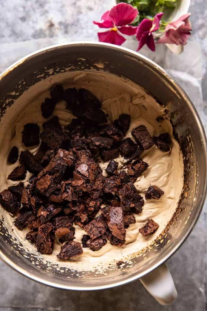 No Churn Fudge Brownie Coffee Ice Cream in mixing bowl before freezing