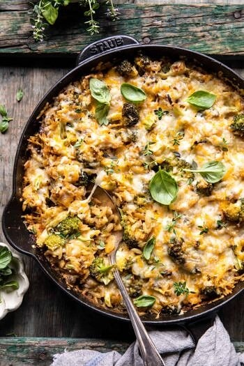 One Skillet Cheesy Broccoli Cheddar Orzo Bake.