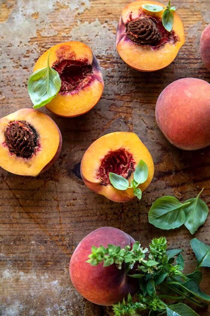 overhead photo of raw peaches