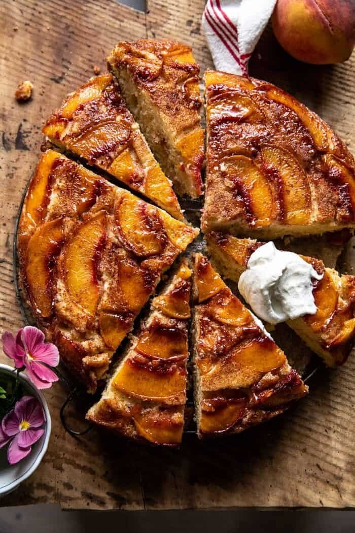 Skillet Cinnamon Sugar Peach Upside Down Cake.