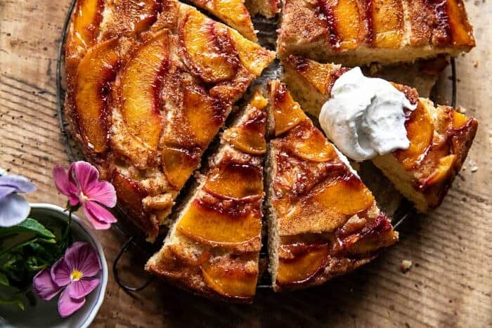 overhead horizontal photo of Skillet Cinnamon Sugar Peach Upside Down Cake
