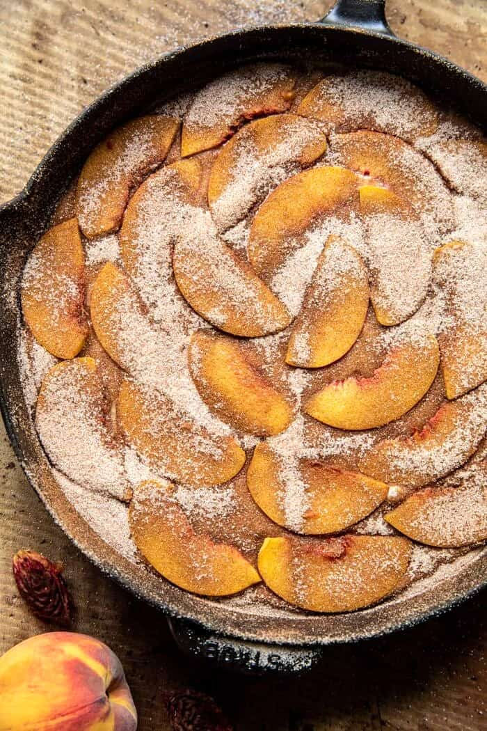 Skillet Cinnamon Sugar Peach Upside Down Cake before baking