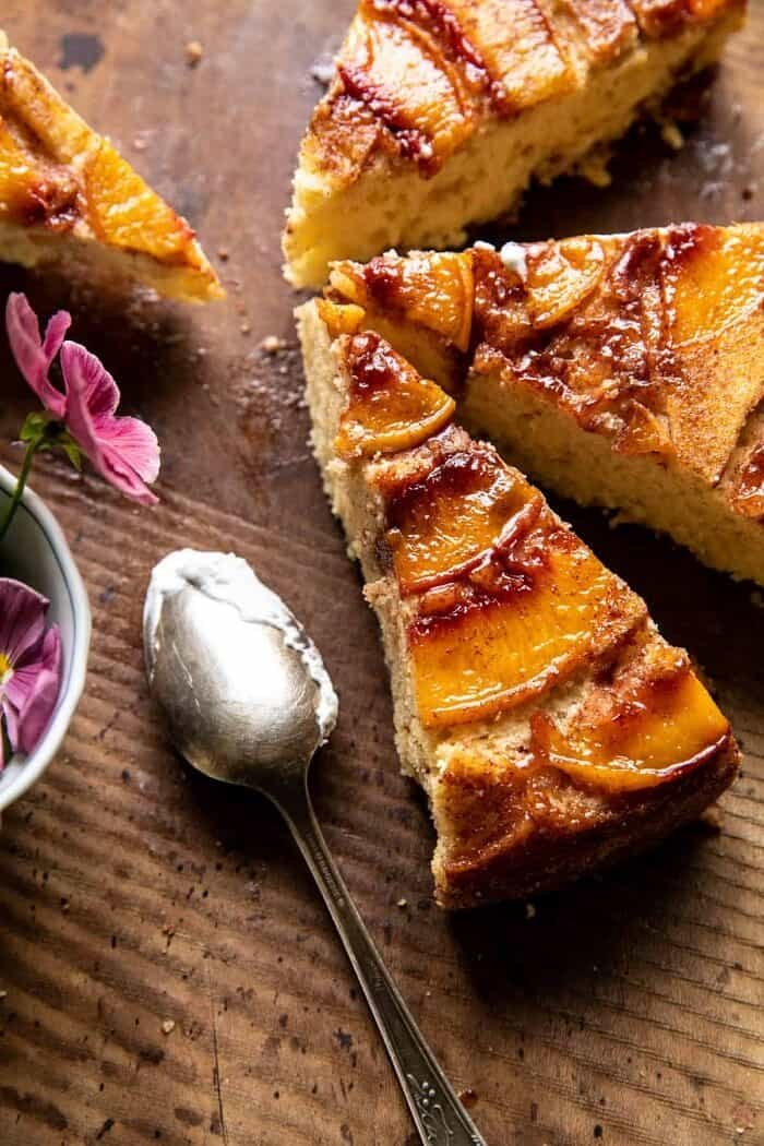 overhead close up photo of Skillet Cinnamon Sugar Peach Upside Down Cake slices